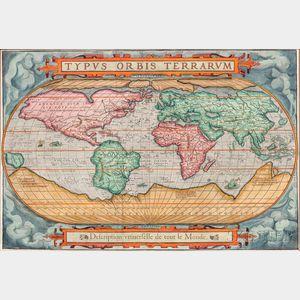World. Francois de Belleforest (1530-1583) Typus Orbis Terrarum, Description Universelle de tout le Monde.