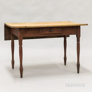 Country Red-painted Maple Single-leaf One-drawer Table