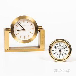Two Tiffany Brass Quartz Clocks