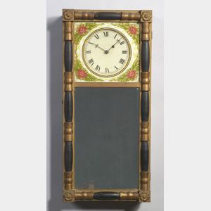 Gilt Gesso and Wood Mirror Timepiece