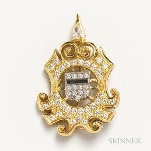 18kt Gold and Diamond Shield Brooch