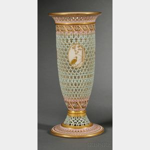 Royal Worcester Porcelain Reticulated Vase