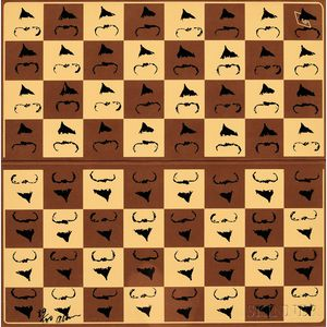 Arman (French/American, 1928-2005)      Chessboard in Hommage to Marcel Duchamp's L.H.O.O.Q.