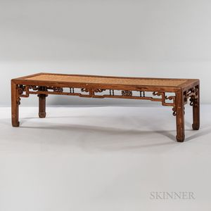 Long Low Table with Woven Bamboo Top