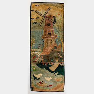 Windmill-decorated Hooked Rug