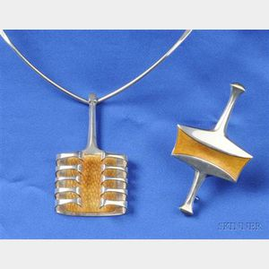 Two Sterling Silver and Enamel Jewelry Items, David Andersen