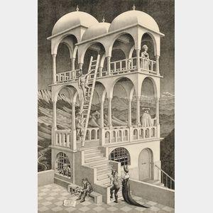 Sold for: $21,330 - M. C. (Maurits Cornelis) Escher (Dutch, 1898-1972)      Belvedere