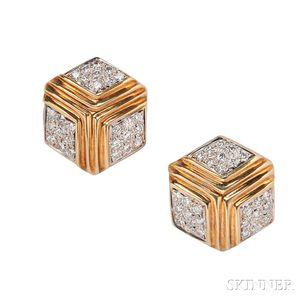 18kt Gold and Diamond Earclips, Verdura