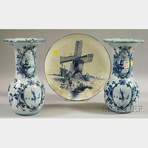 Pair of Dutch Blue and White Ceramic Vases and a Ceramic Charger