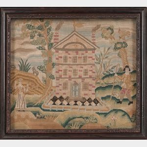 Needlework Picture of a Brick Mansion