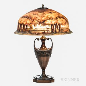 Pairpoint Reverse-painted Landscape Shade Table Lamp