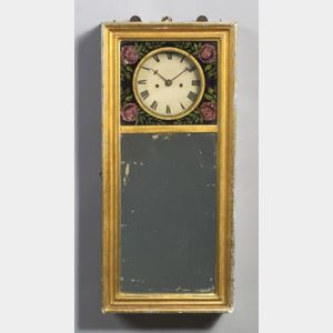Gilt Gesso and Wood Mirror Clock