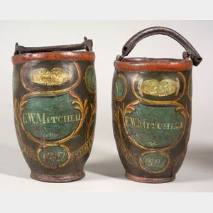 Pair of Paint Decorated Leather Fire Buckets