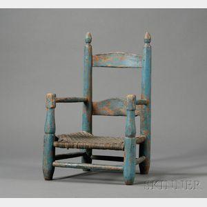 Blue-painted Slat-back Child's Armchair
