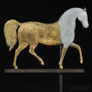 "J. Howard Gilt Cast Zinc and Molded Copper ""Index"" Horse Weathervane"