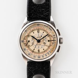 Early Jaeger Stainless Steel Chronograph Wristwatch