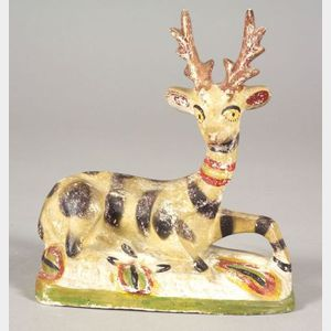 Polychrome Painted Chalkware Stag Figure