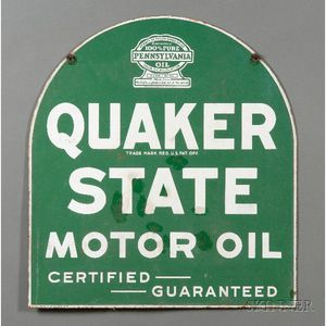 Quaker State Motor Oil Enameled Metal Sign.