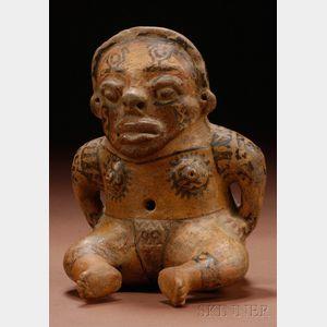 Pre-Columbian Polychrome Pottery Figure