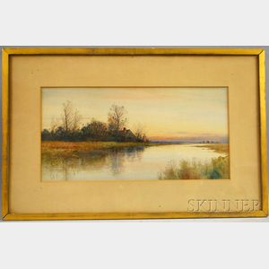 Samuel R. Chaffee (American, b. 1850)      Marsh Cottage at Sunset