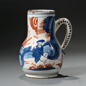 Dutch Delft Polychrome Decorated Jug