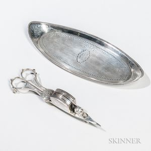 Georgian Sterling Silver Snuffer with Associated Tray