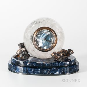 Chimento Rock Crystal and Marble Mantel Clock