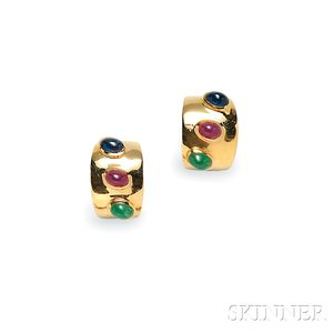 14kt Gold Gem-set Earclips