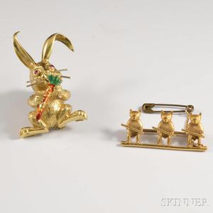 18kt Gold, Enamel, and Ruby Bunny Brooch and an 18kt Gold Brooch with Three Bears