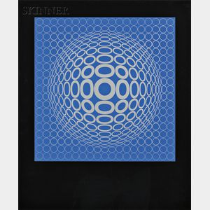 Victor Vasarely (Hungarian/French, 1906-1997)      Untitled (Tuz in Blue and Silver)