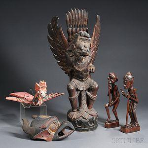 Five Balinese Wood Carvings