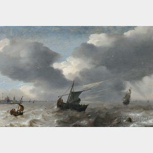 Attributed to Simon Jacobsz de Vlieger (Dutch, 1601-1653)      Vessels in Rough Seas off the Dutch Coast
