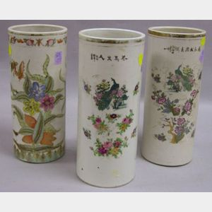 Pair of Chinese Porcelain Brush Pots and a Single Brush Pot.