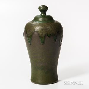 William J. Walley Arts and Crafts Pottery Covered Jar