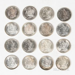 Group of Morgan Dollars in a Walnut Presentation Case