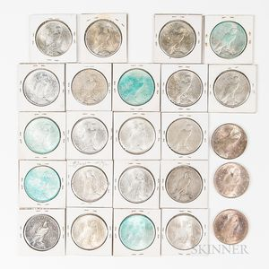 Small Group of Peace Dollars