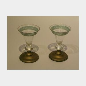 Pair of Gilt-metal Mounted Green Cut to Clear Glass Vases.