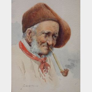 Framed Watercolor of a Peasant Man