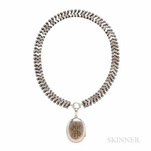 Victorian Silver Locket and Chain