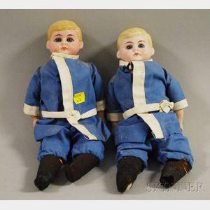 Twin American Schoolboy Bisque Shoulder Head Dolls