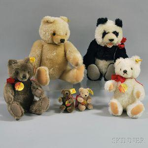 Six Steiff Articulated Mohair Teddy Bears