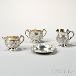 Four Pieces of American Repousse Sterling Silver Hollowware
