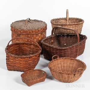 Five Woven Splint Baskets