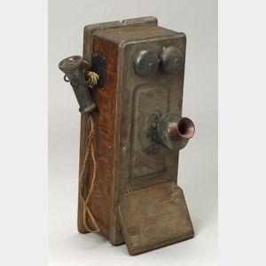 Kellogg Oak Wall Magneto Telephone