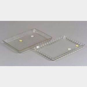 Two Baccarat Pressed Colorless Glass Dresser Trays