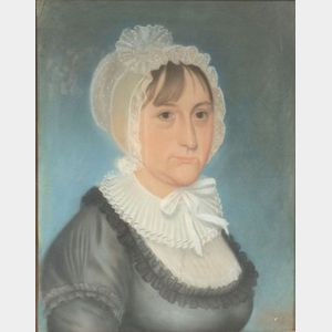 American School, 19th Century      Portrait of a Woman Wearing a White Lace Bonnet and Ruff.