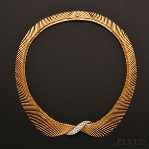 "Sold for: $43,200 - 18kt Gold and Diamond ""Angel Hair"" Necklace, Van Cleef & Arpels"