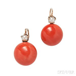 18kt Gold and Coral Earrings