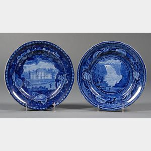 Two Historical Blue Transfer-decorated Staffordshire Dinner Plates