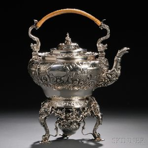 George IV Sterling Silver Tea Kettle on Stand